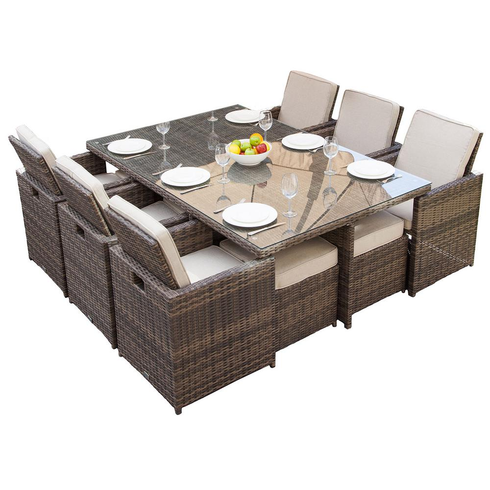 DIRECT WICKER Malta Variegated Brown 11-Piece Wicker Outdoor Dining Set  with Beige Cushions