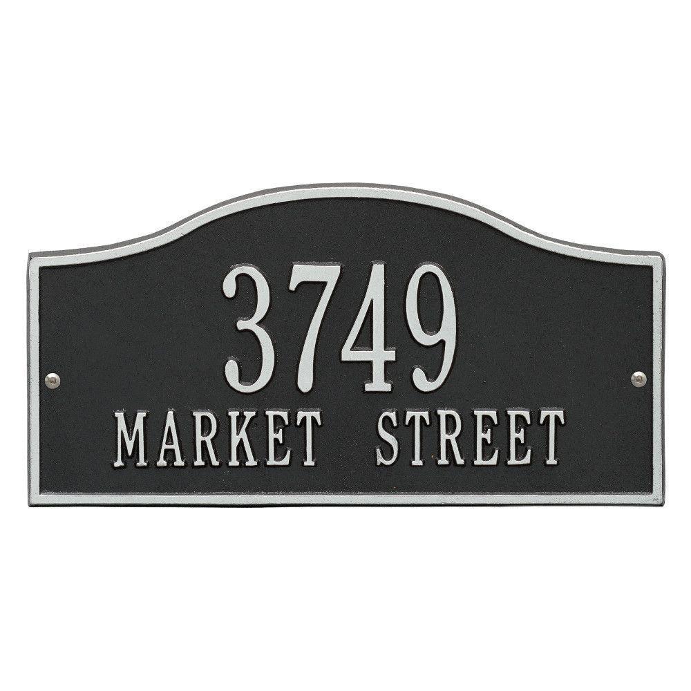 Rolling Hills Rectangular Black/Silver Standard Wall 2-Line Address Plaque