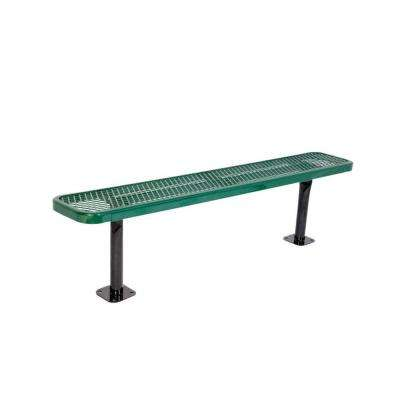 6 in. Diamond Green Commercial Park Bench without Back Surface Mount