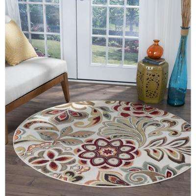 Deco Ivory 8 ft. Transitional Round Area Rug