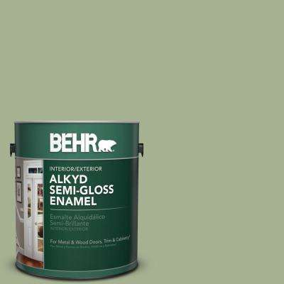 1 gal. #PPU11-6 Willow Grove Semi-Gloss Enamel Alkyd Interior/Exterior Paint