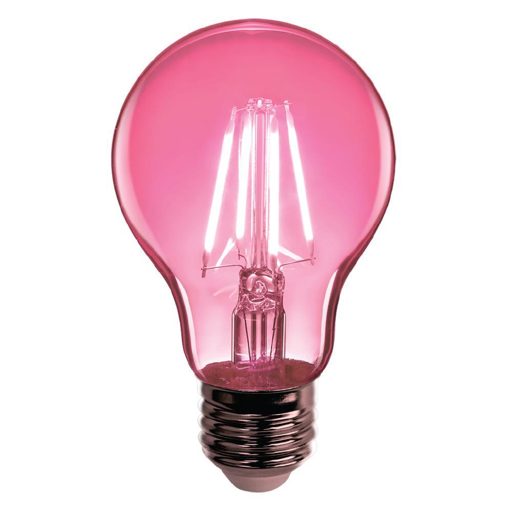 Home Depot Colored Light Bulbs: Feit Electric 4.5-Watt Pink A19 Dimmable Filament Susan G