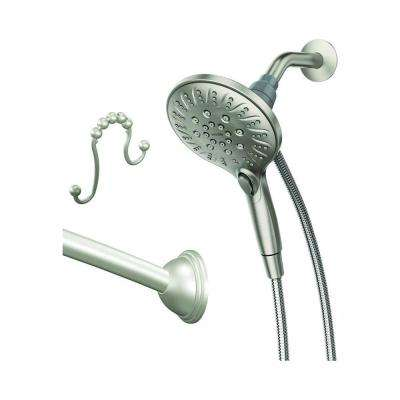 Attract 6-Spray 5.5 in. Hand Shower with Magnetix with Curved Shower Rod and Rings in Brushed Nickel