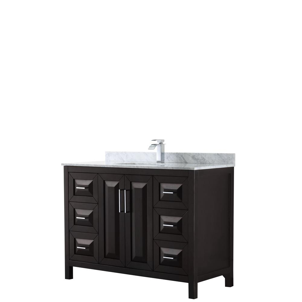 Wyndham Collection Daria 48 in. Single Bathroom Vanity in Dark Espresso with Marble Vanity Top in Carrara White with White Basin
