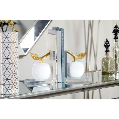 LITTON LANE Metallic Gold and White Apple Bookends