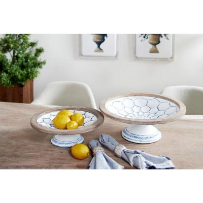 Large White and Natural Wood and Metal Decorative Bowls on Pedestals with Blue Designs (Set of 2)