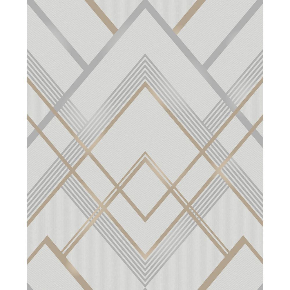 . Bradford Grey Geometric Wallpaper