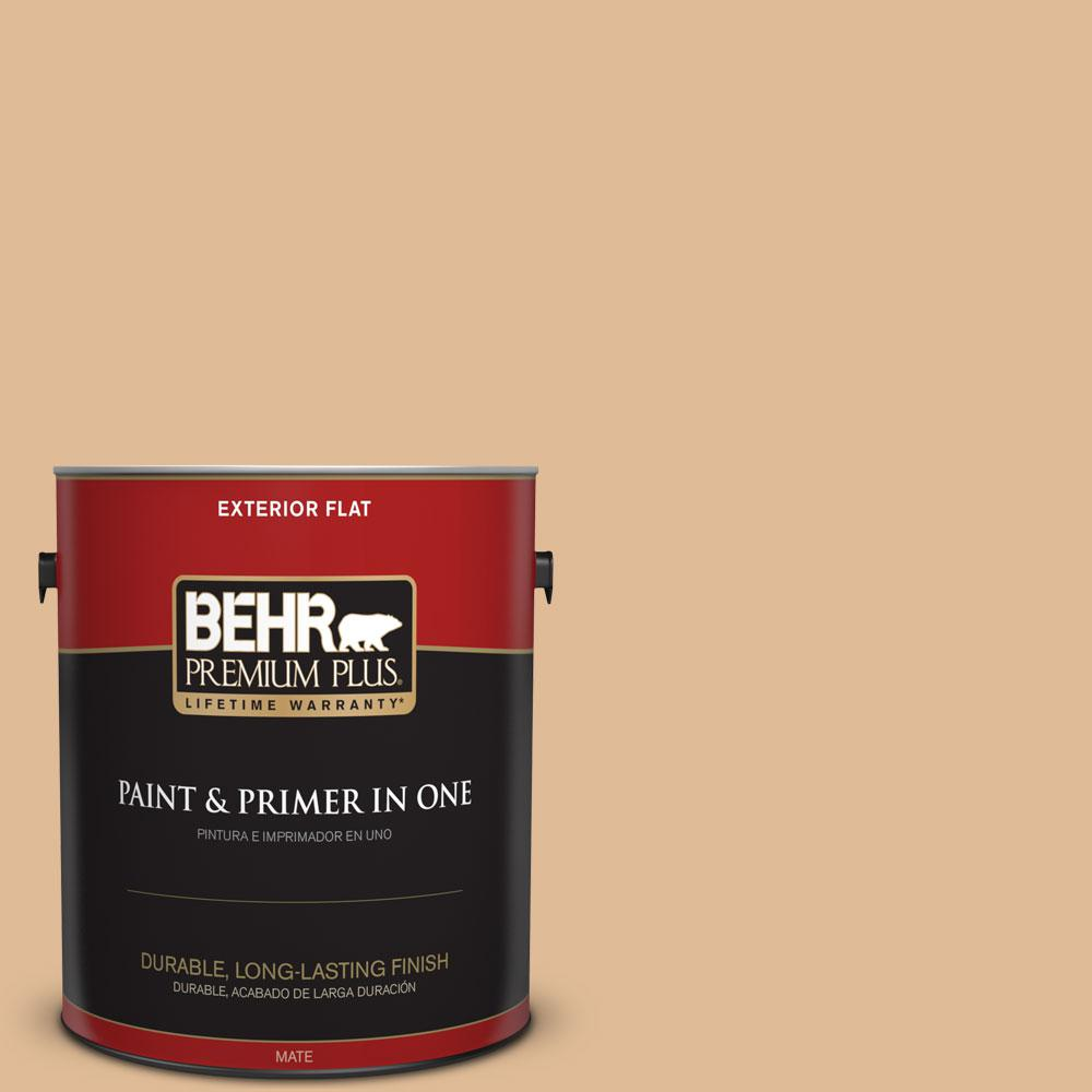 BEHR Premium Plus 1-gal. #S250-3 Honey Nougat Flat Exterior Paint