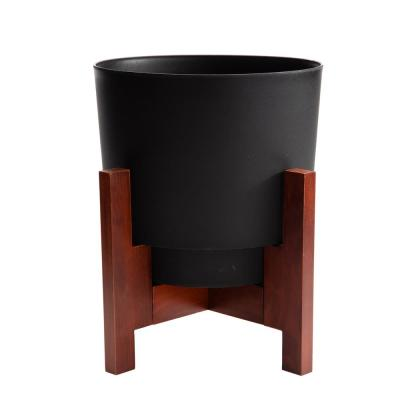 Hopson Medium 10 in. Black Planter with Wood Stand