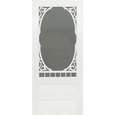 36 in. x 80 in. Carling White Vinyl Screen Door