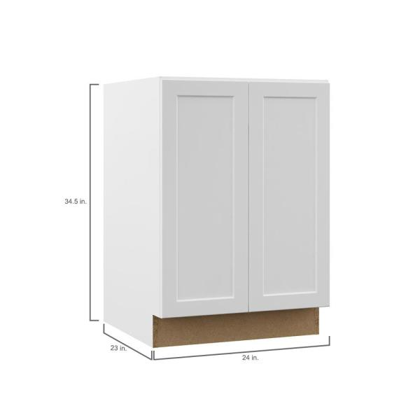 Hampton Bay Designer Series Melvern Assembled 24x34 5x23 75 In Full Height Door Base Kitchen Cabinet In White Bf24 Mlwh The Home Depot