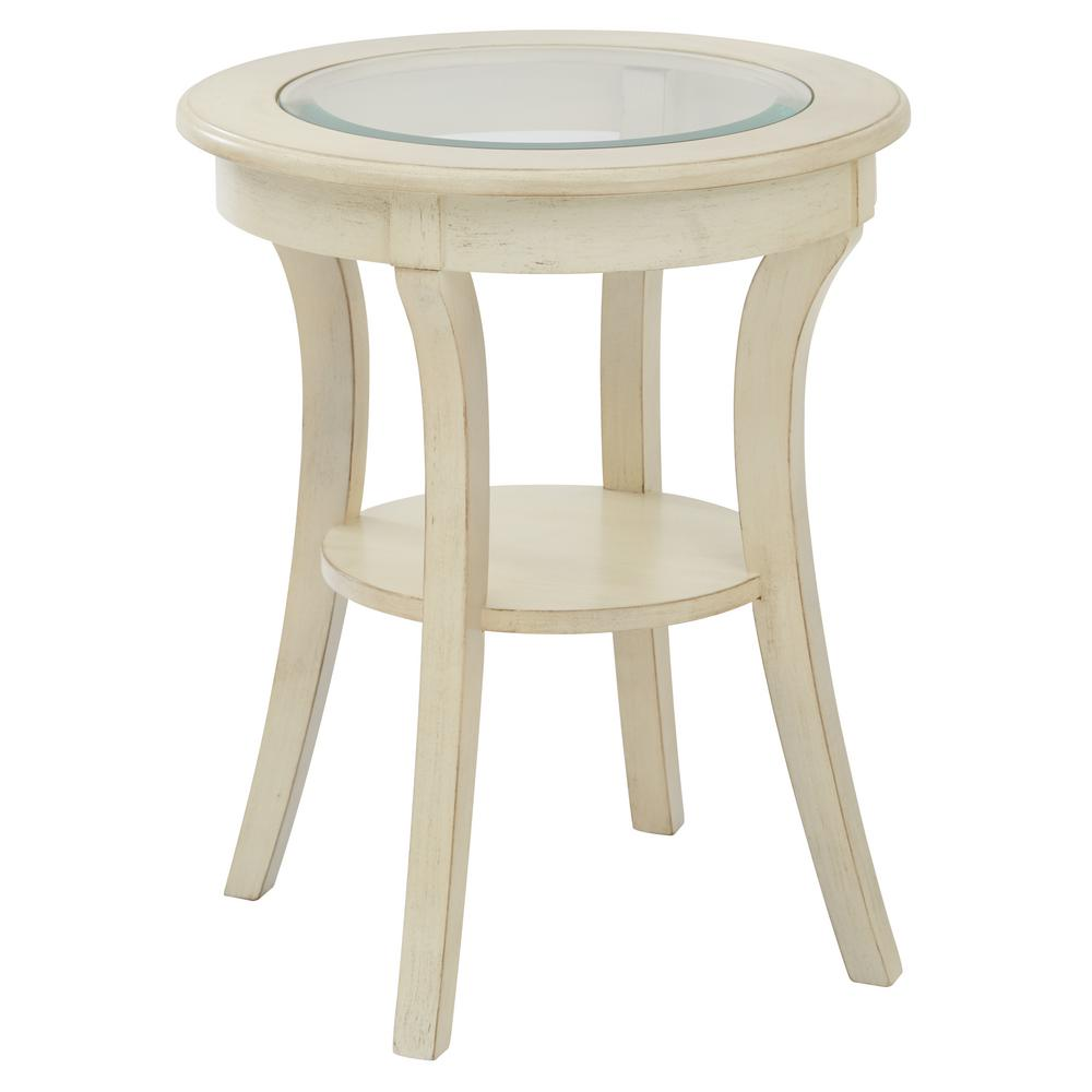 Harper Antique White Wood Round Accent Table With Glass
