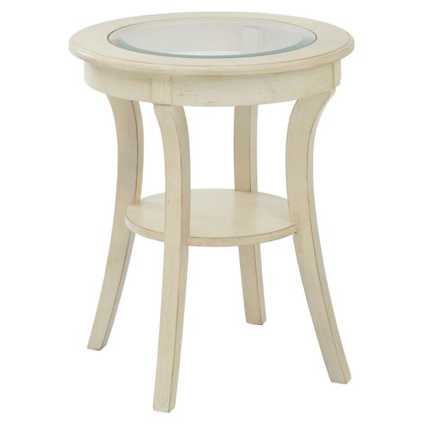 OSP Home Furnishings Harper Antique White Wood Round Accent Table with