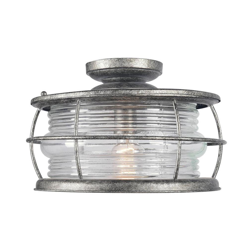 Beacon 1-Light Flint Outdoor Semi-Flushmount Lantern