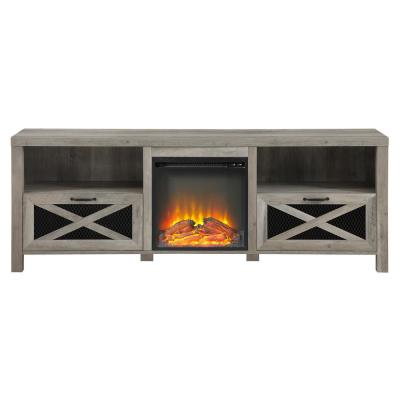 70 in. Grey Wash Composite TV Stand Fits TVs Up to 78 in. with Electric Fireplace