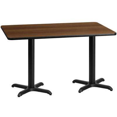 30 in. x 60 in. Rectangular Walnut Laminate Table Top with 22 in. x 22 in. Table Height Bases
