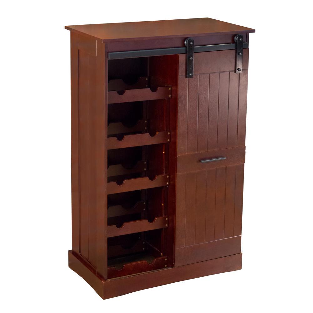 12-Bottle Espresso MDF Wine Cabinet