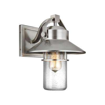 Boynton 1-Light Painted Brushed Steel Outdoor 13 in. Wall Lantern Sconce