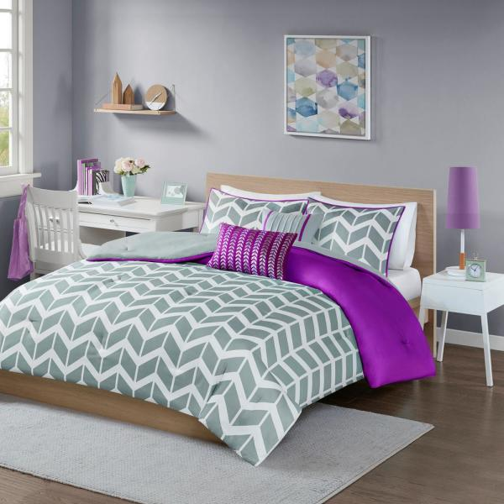 Intelligent Design Peyton 5-Piece Purple Full/Queen Geometric Comforter Set ID10-622
