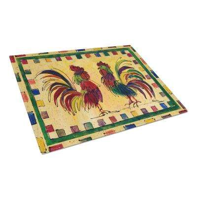 Rooster Tempered Glass Cutting Board Large Heat Resistant