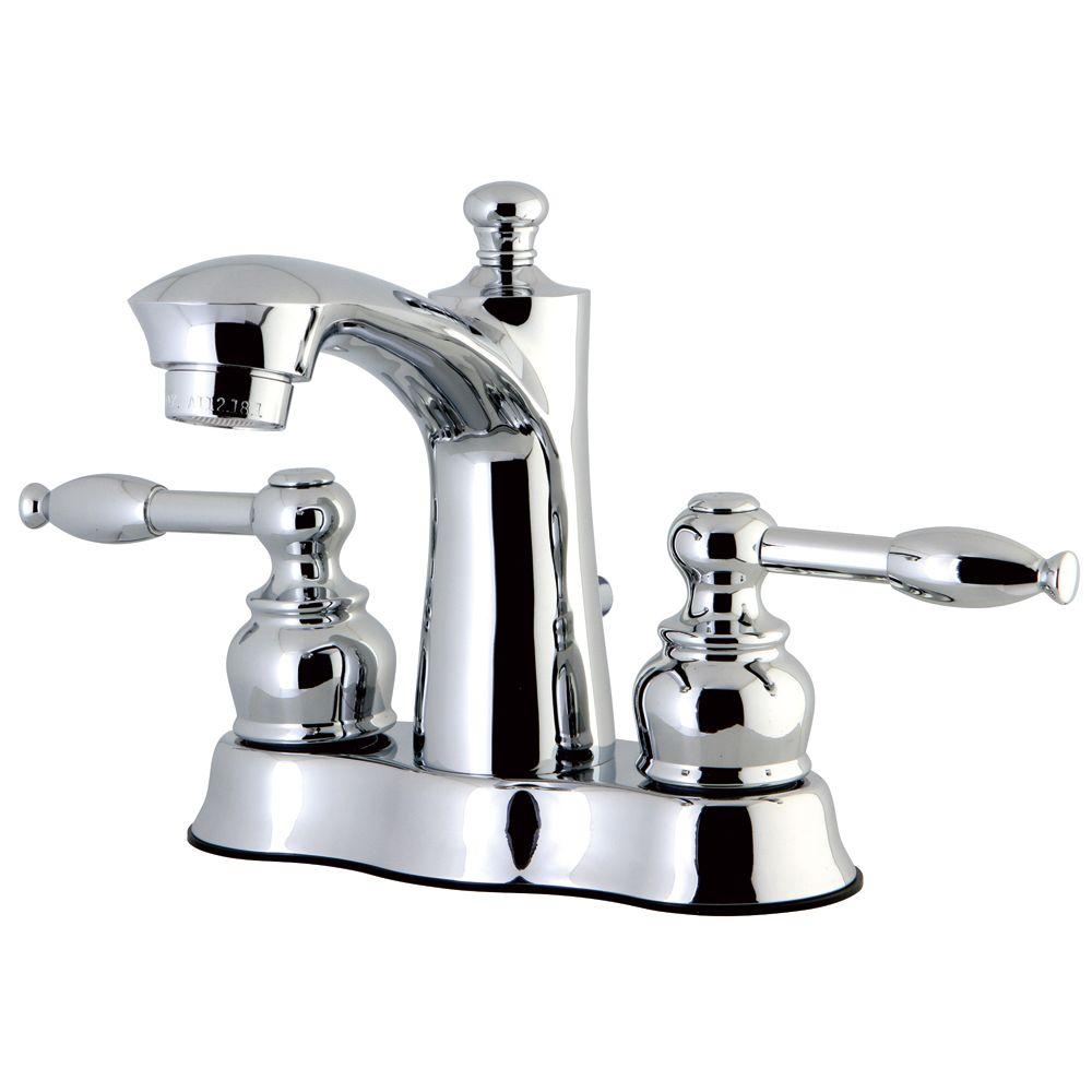 Kingston Brass 4 In Centerset 2 Handle Bathroom Faucet In Polished Chrome Hfb7611kl The Home