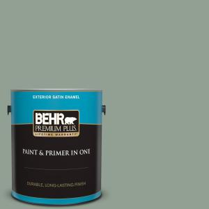 Behr Premium Plus 1 Gal N400 4 Forest Path Satin Enamel Exterior Paint And Primer In One 940001 The Home Depot