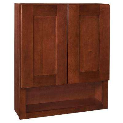 Kingsbridge Assembled 24x30x7 in. Boutique Wall Vanity Cabinet in Cabernet