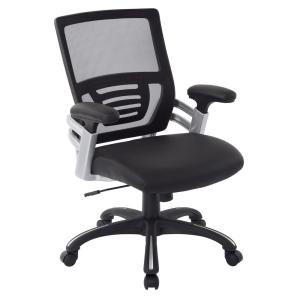 Black Faux Leather Managers Chair with Adjustable Mesh Padded Arms