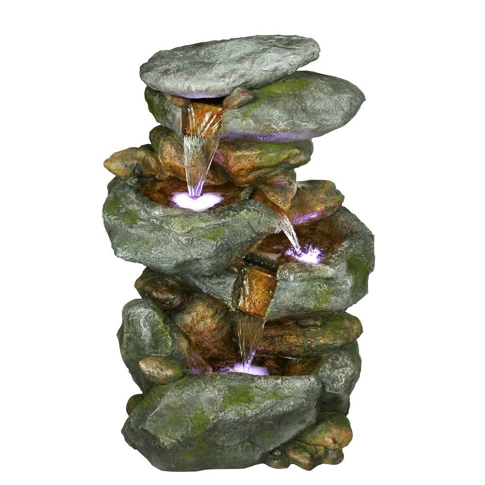 Rock Waterfall Fountain With LED Lights