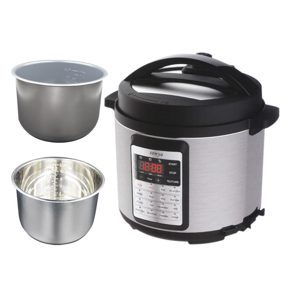 Premium Programmable All-in-One Multi-functional Pressure Cooker, 6 Qt. Extra Stainless Steel Inner Pot (Bonus Pack)