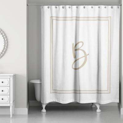 71 in. W x 74 in. L Beige and White Letter B Monogrammed Fabric Shower Curtain