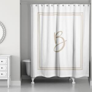 71 inch W x 74 inch L Beige and White Letter B Monogrammed Fabric Shower Curtain by