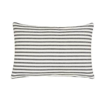 Ticking Black Striped Down Alternative 22 in. x 4 in. Throw Pillow