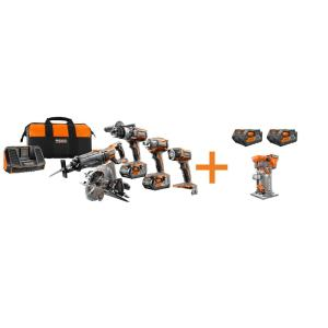Ridgid 18-Volt GEN5X Cordless Lithium-Ion Combo Kit (6-Tool) with (4) 4.0Ah... by RIDGID