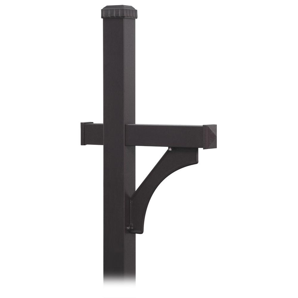 Deluxe 1-Sided In-Ground Mounted Mailbox Post for Roadside Mailbox in Black