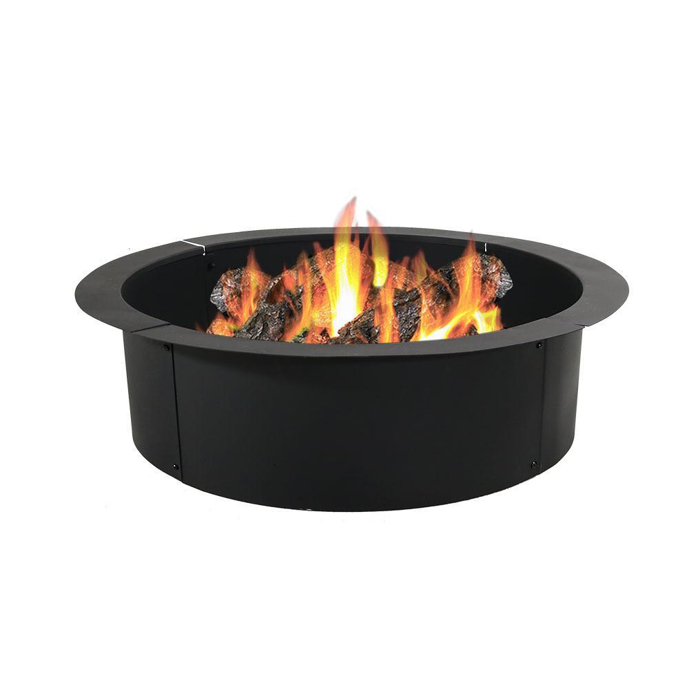 Sunnydaze Decor 30 In Dia Round Steel Wood Burning Fire Pit Rim Liner