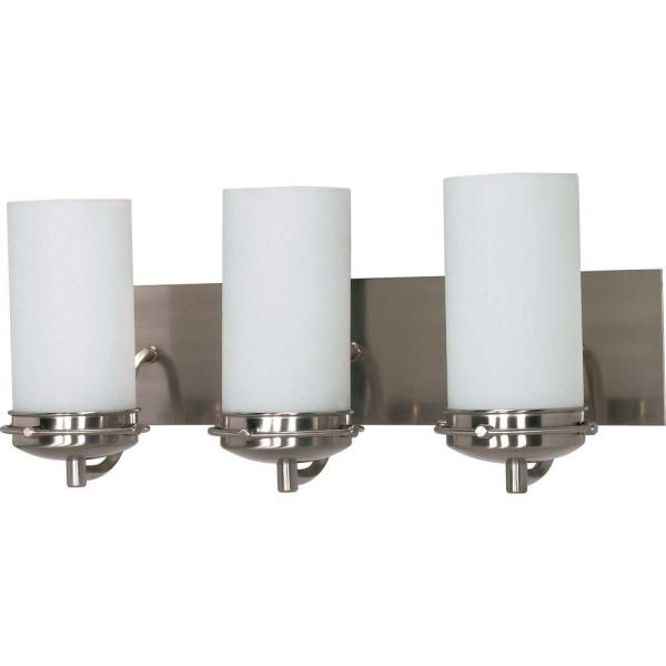 Nestra 3-Light Brushed Nickel Bath Vanity with Satin Frosted Glass