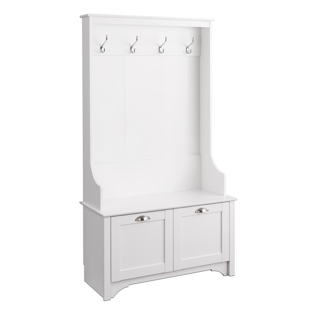 White Wide Hall Tree with Shaker Doors
