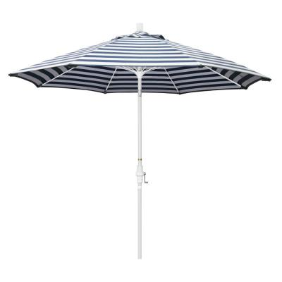 9 ft. Fiberglass Market Collar Tilt Matted White Patio Umbrella in Navy White Cabana Stripe Olefin