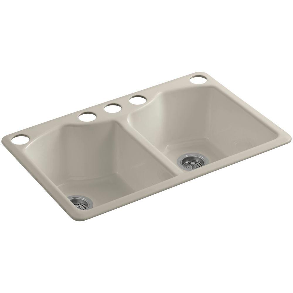 Bellegrove Undermount Cast-Iron 33 in. 5-Hole Double Bowl Kitchen Sink with Accessories in Sandbar
