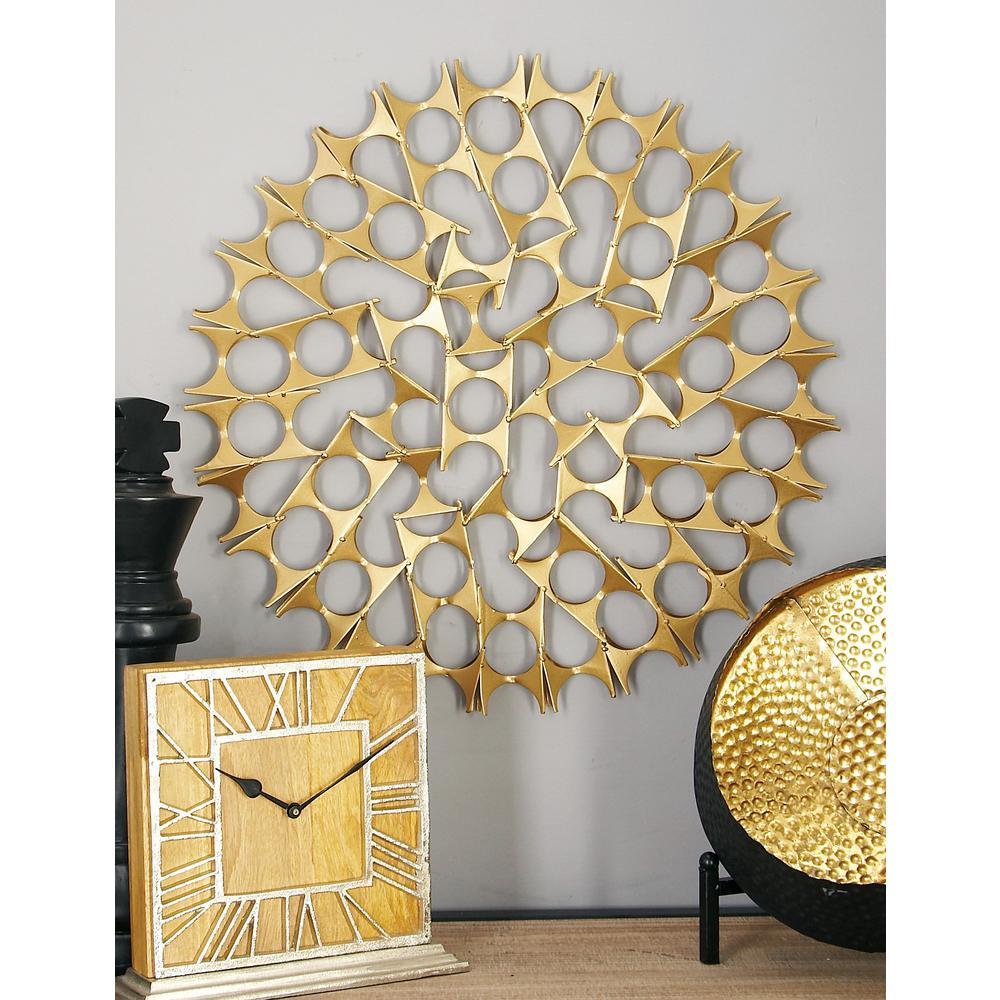 Litton Lane Tin Gold Bowties Orb Metal Wall Decor (Set Of