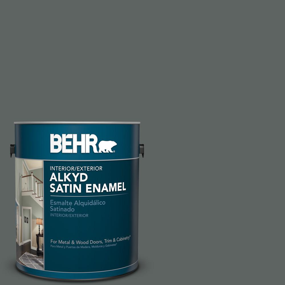 1 gal. #BXC-41 Charcoal Satin Enamel Alkyd Interior/Exterior Paint