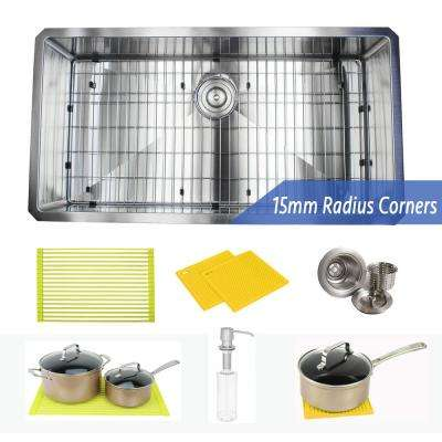 Undermount 16-Gauge Stainless Steel 36 in. x 19 in. x 10 in. Single Bowl Kitchen Sink Combo with Accessories