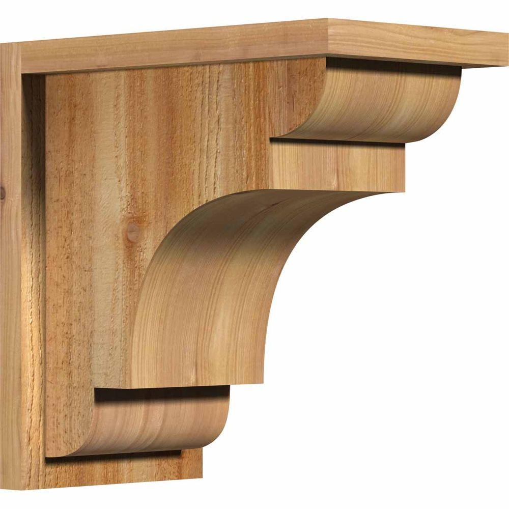 Ekena Millwork 8 in. x 14 in. x 14 in. New Brighton Rough Sawn Western Red Cedar Corbel with Backplate