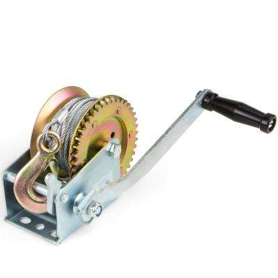 2000 lbs. Capacity Heavy-Duty Worm Gear Manual Crank Hand Winch with Ratchet