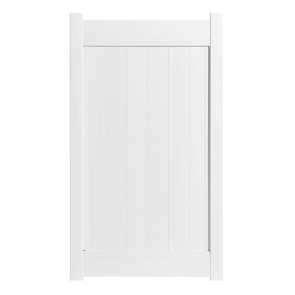 3.5 ft. W x 6 ft. H Fairfax White Vinyl Privacy
