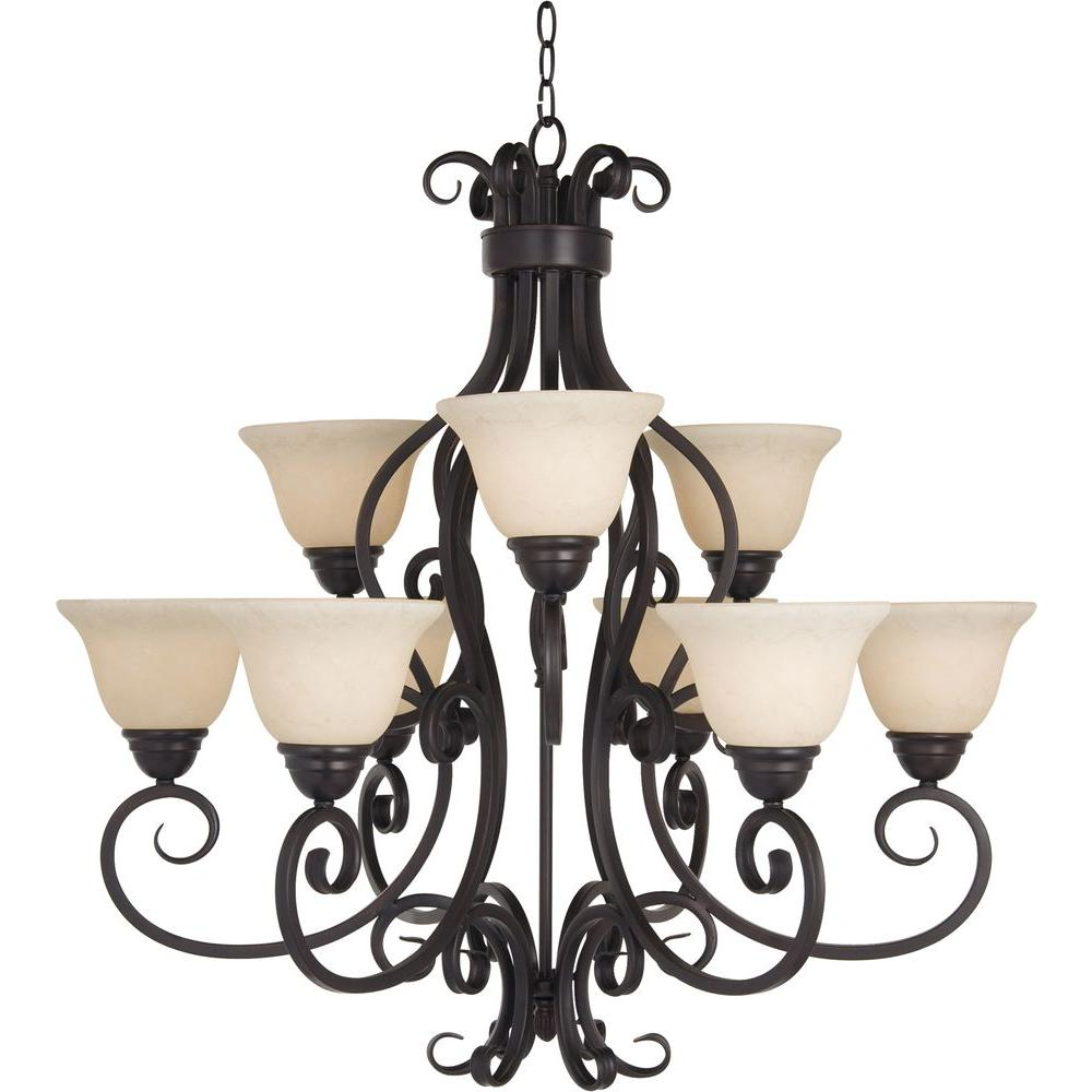 Maxim lighting manor 9 light oil rubbed bronze chandelier maxim lighting manor 9 light oil rubbed bronze chandelier 12207fioi the home depot mozeypictures Choice Image
