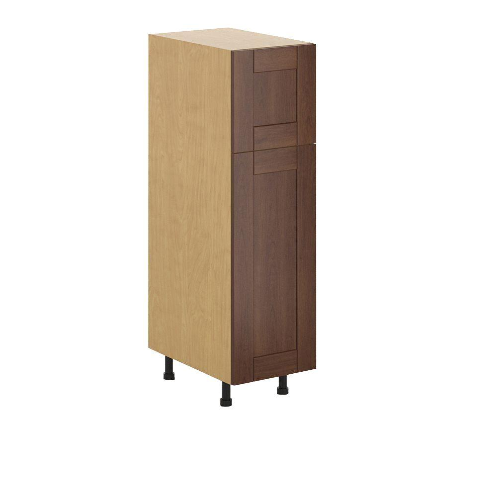 Fabritec Lyon Ready to Assemble 15 x 49 x 24.5 in. Pantry/Utility Cabinet in Maple Melamine and Door in Medium Brown