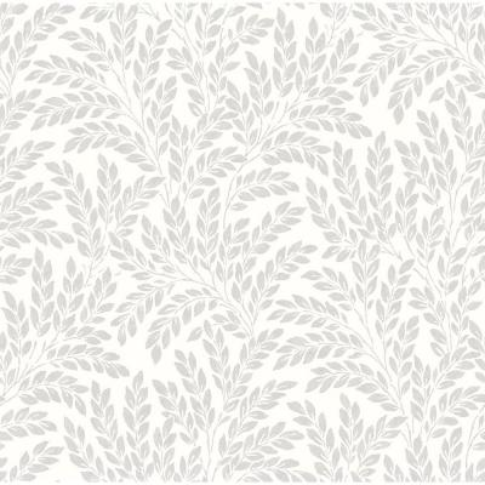 Soft White Jade Leaf Wallpaper Sample