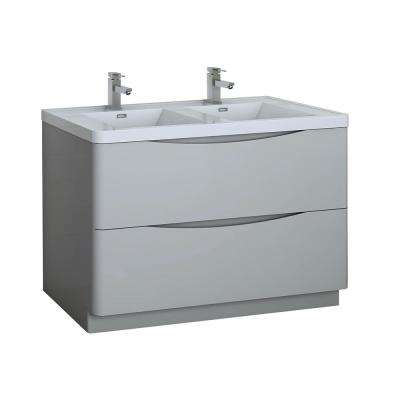 Tuscany 48 in. Modern Double Bath Vanity in Glossy Gray with Vanity Top in White with White Basin